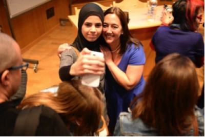 Taking a selfie with a Muslim student at Beit Berl College in Kfar Saba, Israel