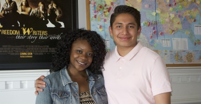 Freedom Writer and scholarship alumni Tiffony Jacobs with 2016 Freedom Writer Scholar Ellis Sanchez at the Freedom Writers Foundation