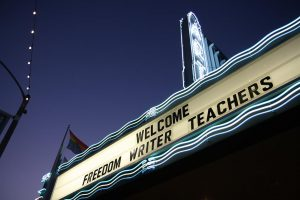 Freedom Writer Teachers at the Freedom Writers Teachers Institute visit the Art Theater in Long Beach California for a break out conference event.