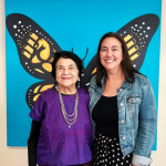 Freedom Writer Foundation founder Erin Gruwell stand with Freedom Writer Podcast Guest Si se puede activist Dolores Huerta after recording an educational and impactful episode.