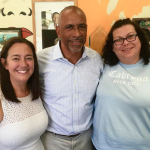 Freedom Writer Foundation founder Erin Gruwell poses with Original Freedom Writer Sue Ellen and Freedom Writer Podcast guest Doctor Pedro Noguera