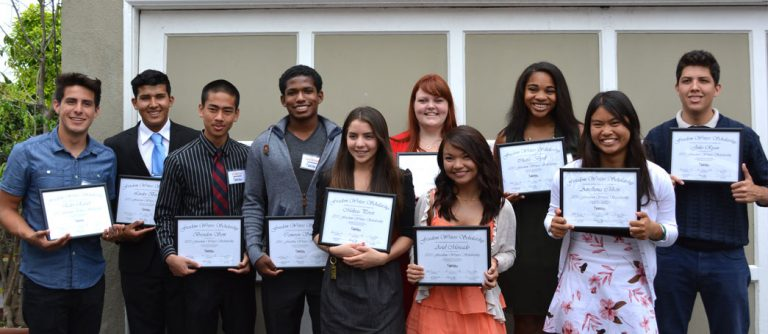 Freedom Writers Scholars receiving their Freedom Writers Foundation Scholarships